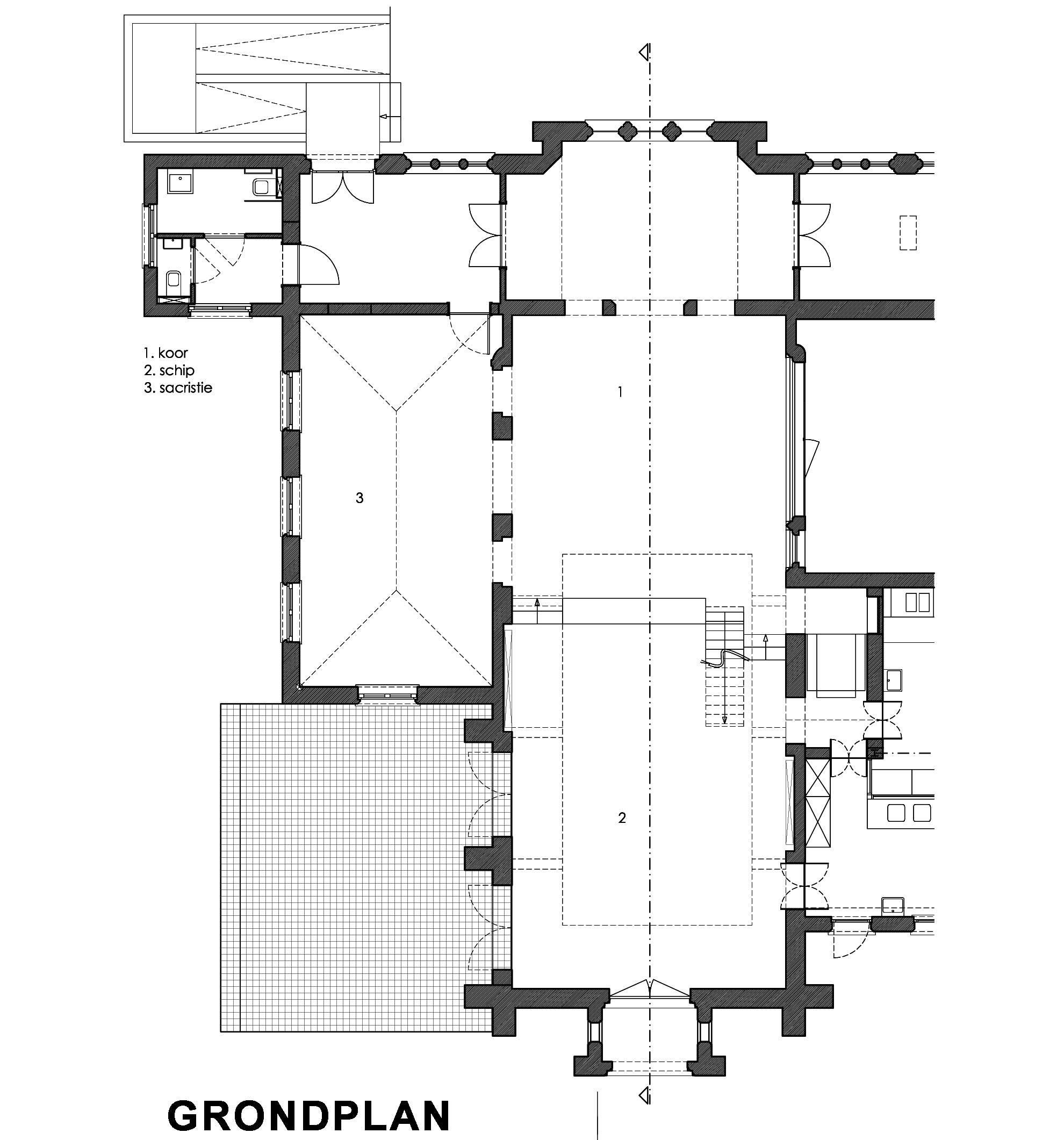 Grondplan renovatie Karmel Brugge AVDK Architecten