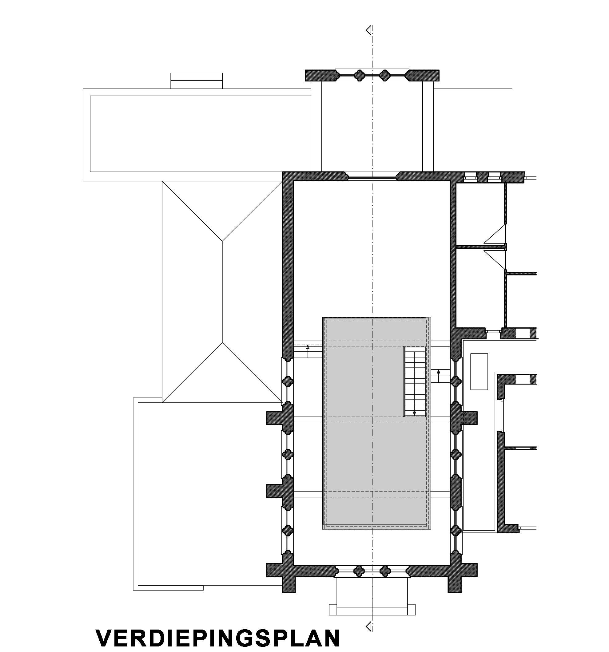 Verdiepingsplan renovatie Karmel Brugge AVDK Architecten